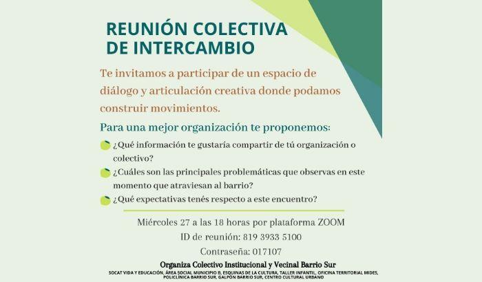 El Colectivo Institucional y Vecinal de Barrio Sur te invita a participar de un espacio de diálogo y articulación creativa.