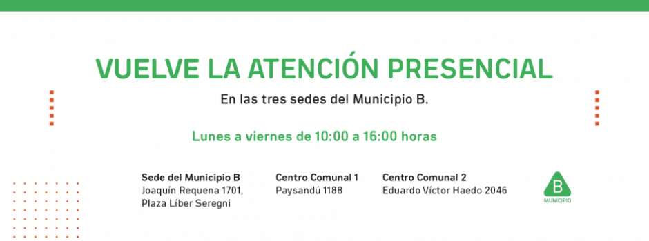 Municipio B retoma presencialidad en la atención al público en sede central y en los Centros Comunales 1 y 2.